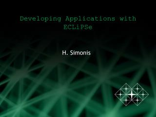 Developing Applications with ECLiPSe