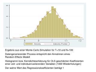 Ergebnis aus einer Monte-Carlo-Simulation für T=10 und N=100