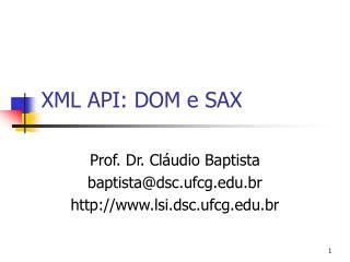 XML API: DOM e SAX