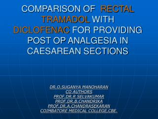 DR.O.SUGANYA MANOHARAN      CO AUTHORS PROF.DR.R SELVAKUMAR PROF.DR.B.CHANDRIKA