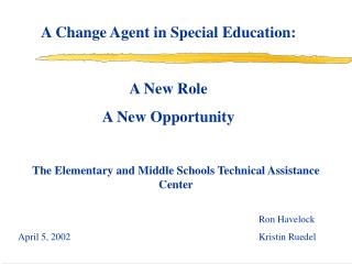 A Change Agent in Special Education:  A New Role   A New Opportunity