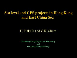 Sea level and GPS projects in Hong Kong and East China Sea