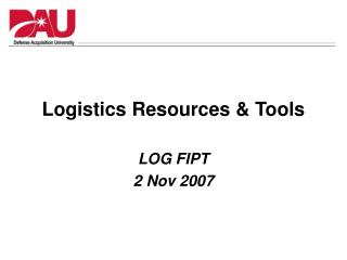 Logistics Resources & Tools