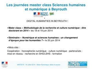 Les  journées  master class Sciences  humaines  et  numérique  à  Beyrouth