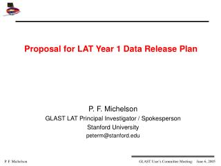 Proposal for LAT Year 1 Data Release Plan