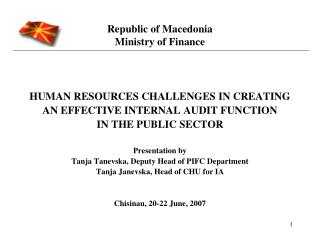 Republic of Macedonia Ministry of Finance