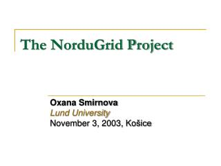 The NorduGrid Project