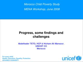 Morocco Child Poverty Study  MENA Workshop, June 2008