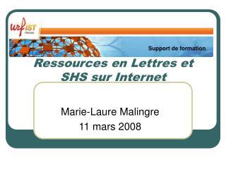 Ressources en Lettres et SHS sur Internet