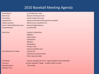 2010 Baseball Meeting Agenda