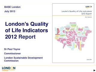 London's Quality of Life Indicators 2012  Report