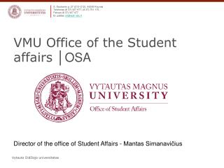 VMU Office of the Student affairs  │ OSA
