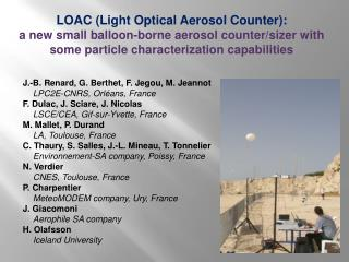 LOAC  (Light Optical  Aerosol  Counter):