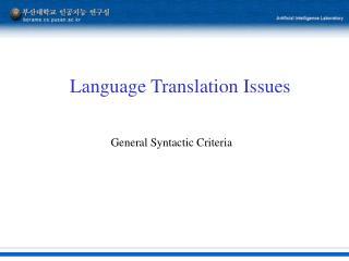 Language Translation Issues