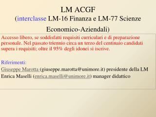 LM ACGF ( interclasse  LM-16 Finanza e LM-77 Scienze Economico-Aziendali)