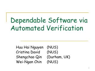 Dependable Software via Automated Verification