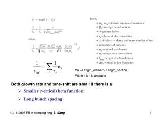 Smaller (vertical) beta function  Long bunch spacing