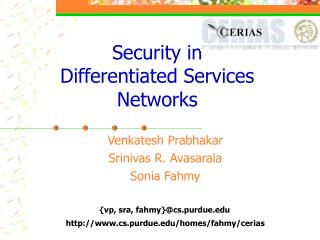 Security in Differentiated Services Networks