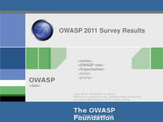 OWASP 2011 Survey Results