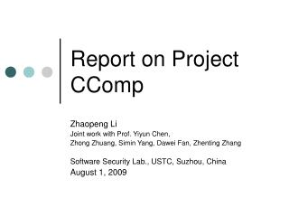 Report on Project CComp