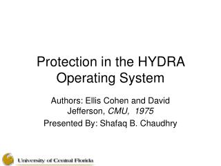 Protection in the HYDRA Operating System