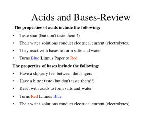 Acids and Bases-Review