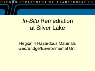 In-Situ  Remediation at Silver Lake