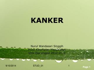 KANKER Nurul Wandasari Singgih Prodi Kesehatan Masyarakat Univ Esa  U nggul  2012-2013