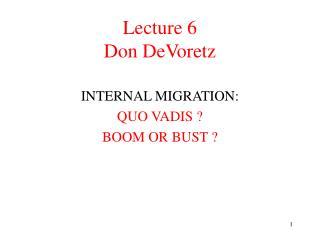 Lecture 6 Don DeVoretz