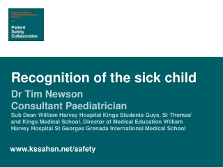 EARLY RECOGNITION OF THE SICK PATIENT
