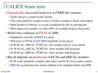 CALICE beam tests