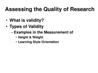 Assessing the Quality of Research