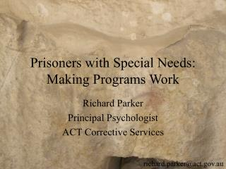 Prisoners with Special Needs: Making Programs Work