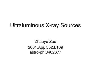 Ultraluminous X-ray Sources