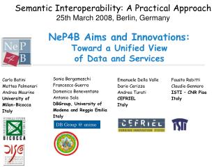 NeP4B Aims and Innovations: Toward a Unified View  of Data and Services