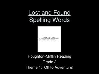 Lost and Found Spelling Words