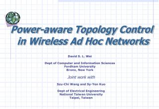Power-aware Topology Control  in Wireless Ad Hoc Networks