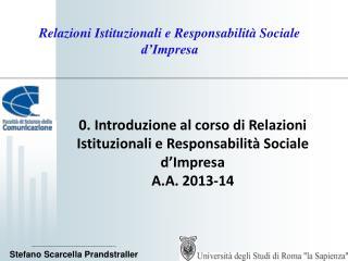 Relazioni Istituzionali e Responsabilità Sociale d'Impresa