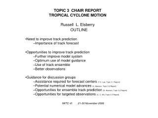 TOPIC 3  CHAIR REPORT TROPICAL CYCLONE MOTION Russell  L. Elsberry