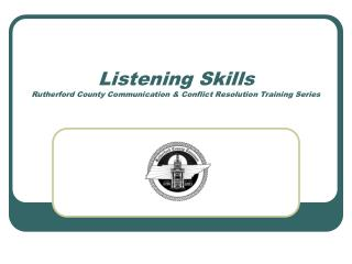 Listening Skills Rutherford County Communication  Conflict Resolution Training Series