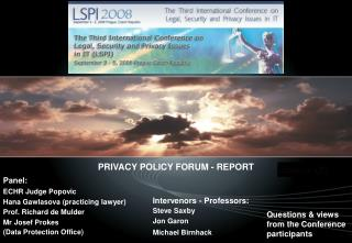 PRIVACY POLICY FORUM - REPORT