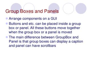Group Boxes and Panels