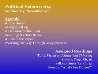 Political Science 104 Wednesday, November 18