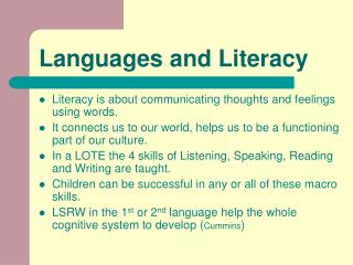 Languages and Literacy