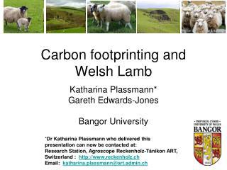 Carbon footprinting and  Welsh Lamb