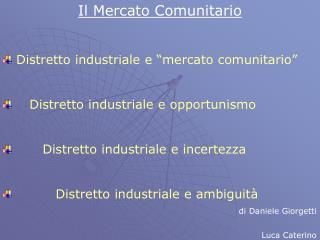 """Il Mercato Comunitario Distretto industriale e """"mercato comunitario"""""""