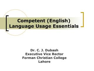 Competent (English)  Language Usage Essentials