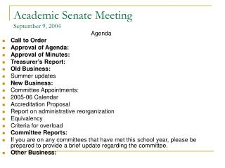 Academic Senate Meeting September 9, 2004