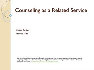 Counseling as a Related Service