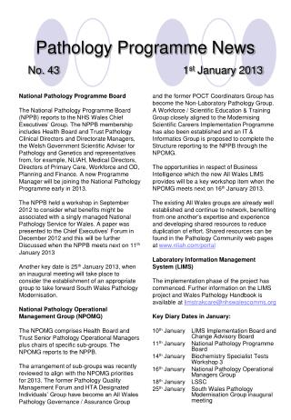Pathology Programme News No. 43 1 st  January 2013